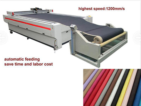 The features of oscillation knife cutting machine for car interiors with automatic feeding system